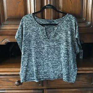 AE Marled Knit Short Sleeve Top